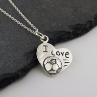 I Love Soccer Heart Necklace - 925 Sterling Silver