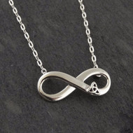 Infinity with Trinity Knot Necklace - 925 Sterling Silver