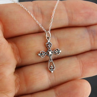Beaded Style Cross Necklace- 925 Sterling Silver