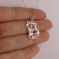 Origami Fox Necklace - 925 Sterling Silver