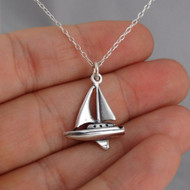 Sailboat 3D Pendant Necklace - 925 Sterling Silver