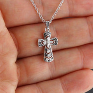 Beaded Style Textured CZ Cross Necklace - 925 Sterling Silver