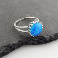 Blue Opal Crown Ring - 925 Sterling Silver