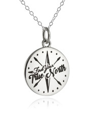 Engraved Find Your True North Compass Pendant Necklace - 925 Sterling Silver