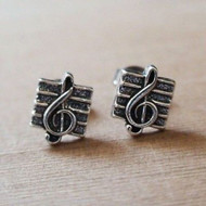 Treble Clef Music Staff Earrings - 925 Sterling Silver