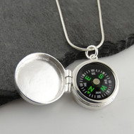 Real Working Compass Locket Necklace - 925 Sterling Silver
