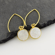 Shimmering White Druzy Quartz Earrings, Gold Vermeil Marquis Ear Wires