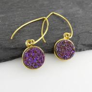 Shimmering Purple Druzy Quartz Earrings - Gold Vermeil Marquis Ear Wires