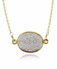 Silver Druzy Quartz Necklace - 14/20 Gold Filled Chain