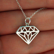 Diamond Outline Charm Necklace - Sterling Silver