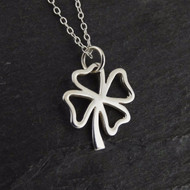 Four Leaf Clover Outline Necklace - 925 Sterling Silver
