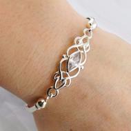 Celtic Knot Bangle Bracelet - 925 Sterling Silver, Marquis CZ