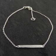 Cubic Zirconia Bar Bracelet - 925 Sterling Silver