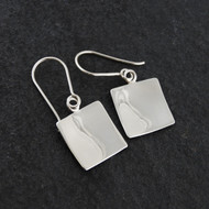 Square Concave Dangle Earrings - 925 Sterling Silver