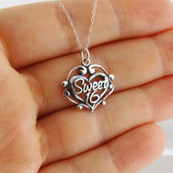 Sweet 16 Filigree Heart Necklace - 925 Sterling Silver