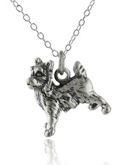 Yorkshire Terrier 3D Dog Necklace - 925 Sterling Silver