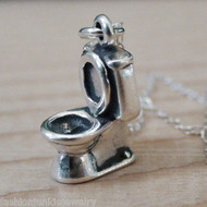 3D Toilet Charm Necklace - 925 Sterling Silver