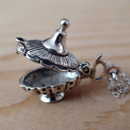 MAGIC GENIE LAMP (movable) - Sterling Silver Charm  Necklace