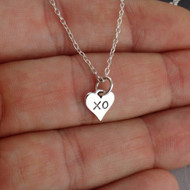 Tiny XO Heart Charm Necklace - 925 Sterling Silver