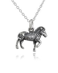 Zebra 3D Pendant Necklace - 925 Sterling Silver