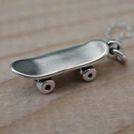 Tiny Skateboard Charm Necklace - 925 Sterling Silver