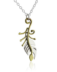 Whimsical Feather Necklace - Sterling Silver and Brass