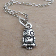 TINY OWL - Sterling Silver Charm Necklace