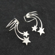 Shooting Stars Ear Cuff Earrings in 925 Sterling Silver