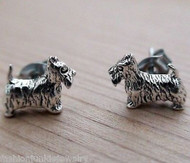 Scottish Terrier Dog Earrings - 925 Sterling Silver