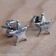 Sheriff Badge Earrings - 925 Sterling Silver