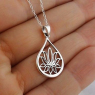 Lotus Flower Teardrop Necklace - 925 Sterling Silver