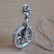Unicycle 3D Charm Necklace - 925 Sterling Silver