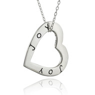 Heart-Shaped JOY Affirmation Necklace - 925 Sterling Silver