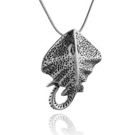 3D Stingray Pendant Necklace - 925 Sterling Silver