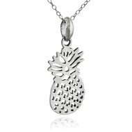 Flat Cutout Pineapple Necklace - 925 Sterling Silver