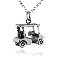 Golf Cart Charm Necklace - 925 Sterling Silver