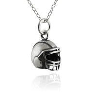 Tiny Football Helmet Charm Necklace - 925 Sterling Silver