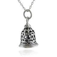 "Sterling Silver 3D Filigree Working Hand Bell Charm Necklace, 18"" Chain, Victorian Style"