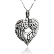 Angel Wings Heart Necklace w/Trinity Knot - 925 Sterling Silver