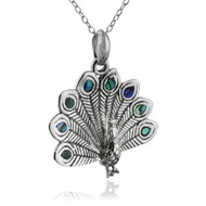 Peacock Necklace with Genuine Abalone Accents - 925 Sterling Silver - Feathers NEW