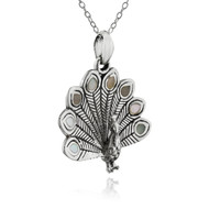 Sterling Silver Peacock Pendant with Genuine Mother of Pearl