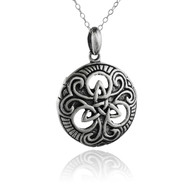 Celtic Trinity Knot Pendant with Swirl Necklace - 925 Sterling Silver - Round NEW
