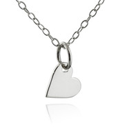 Tiny Dangling Heart Pendant Necklace - 925 Sterling Silver