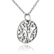 Round Tree of Life Cutout Pendant Necklace - 925 Sterling Silver - Family Trees