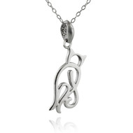 Sterling Silver Backside of Cat Outline Pendant Necklace