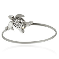 Sterling Silver Sea Turtle Bangle Bracelet with Latch