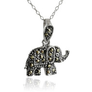 Marcasite Elephant Pendant Necklace - 925 Sterling Silver