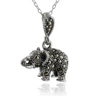 "Sterling Silver 3D Marcasite Elephant Pendant Necklace, 18"" Chain"