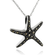 Marcasite Starfish Necklace - 925 Sterling Silver