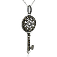 Marcasite Skeleton Key Pendant Necklace, 925 Sterling Silver